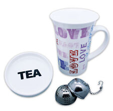 Teetasse Tee Tasse Cafe Dekotasse Kaffeetasse mit Deckel + Tee-Ei Porzellan LOVE