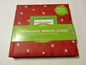 NEW HALLMARK CHRISTMAS RECORDABLE MEMORY PHOTO ALBUM  (RED)