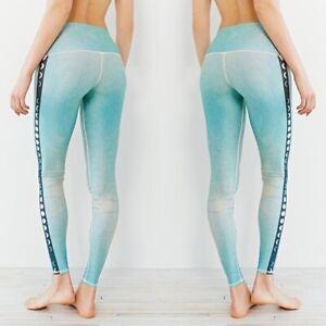 Teeki Yoga Leggings Blue Moon XS Pilates Fitness Gym Made In USA Geometric Print