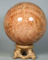 1.3lb Polished Unique Sunstone Agate Geode CRYSTAL Sphere Ball HEALING / Stand