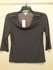FALL!  NEW CHARTER CLUB - SEXY GOLD SHOULDER CHAIN TOP!   SZ SM   NWT!
