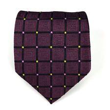 ETRO Milano Tie 100% Silk Dark Purple Burgundy Plaid Made In Italy Necktie