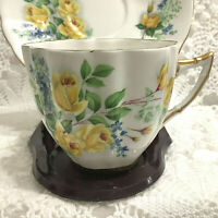 Vintage 'WINDSOR' English Bone China Tea Cup & Saucer Yellow Roses Gold Trim
