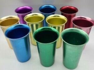 Vintage Zephyr Ware Aluminum Tumblers Colorful Set of 10