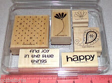 Flower Happy Two Step Stamping Rubber Stamp Set Stampin Up Polka Dots & Paisley