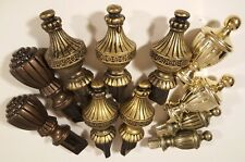 VINTAGE PLASTIC CURTAIN ROD FINIALS LOT 4 STYLES FAUX BRASS BRONZE METAL