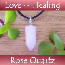 ROSE QUARTZ Crystal Healing Point RELATIONSHIPS ~ LOVE Gemstone Pendant Necklace