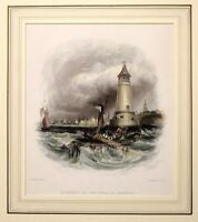1836 ANTIQUE PRINT - MOUNTED - ENTRANCE TO THE PORT OF BERWICK -  HAND COLOURED