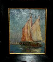 Marine, Sailboats with view of Venice, picture by Wagner, oil, canvas, 1920`s