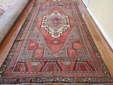 4.9 x 9.5 Antique Veg Dye Caucasian Oushak Serapi Heriz Vintage Kazak Tribal
