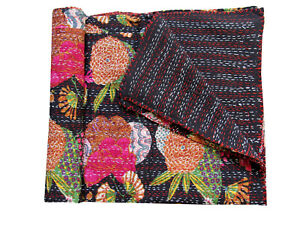 Cotton Floral Print Kantha Quilt Indian Twin Blanket Throw Bohemian Bedspread