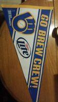 Milwaukee Brewers Baseball Go Brew Crew Pennant Miller Lite