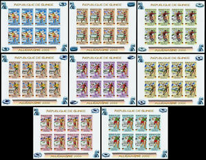 Soccer World Cup 2006, Space. Guinea Mi.4176-83B in imperforated sheets. MNH