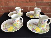 1974 Seymour Manning Day Lily Set of 4 Cups & R Plates Fine China 8 Pieces