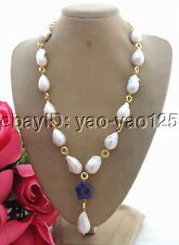 Q102104 New! 18mm Bead-Nucleated Pearl&Natural Lapis Necklace