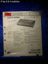 Sony Service Manual TCM 1000A Cassette Corder  (#0294)