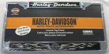 HARLEY DAVIDSON METAL LICENSE PLATE FRAME BLACK FLAMES CHROME MIRRORED NEW L736