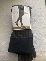 VIA SPIGA WOMENS FLANNEL HOUNDSTOOTH LEGGING BLACK/GREY SIZE: S/M