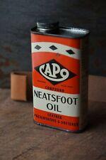 Vintage Full Neatsfoot Oil Tin Leather Harness Saddles Gun Strap Workwear