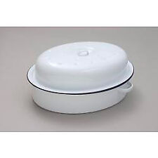 Falcon Enamel White Oval Roaster Roasting Dish Casserole 30cm