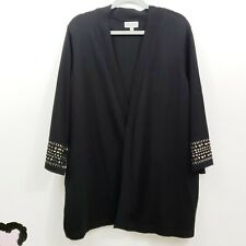 JM Collection Women Black Studded Cardigan Jacket 2X