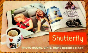 Shutterfly Gift Card No $ Value Collectible ---0--BALANCE RECHARGEABLE