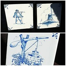 3 DELFT TILES Beautiful Old Blue & White - Hunter - Country Well - Wind Mill