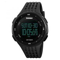 SKMEI Mens Black Large Display Digital Watch Resin Strap Stopwatch Alarm 50m