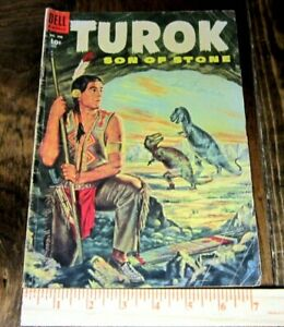 Turok Son of Stone dinosaur comic book--#596 by Dell initial issue circa 1954