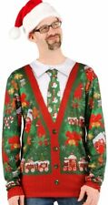 Faux Real Men's Ugly Christmas Sweater Long Sleeve T-Shirt, Cardigan with Tie