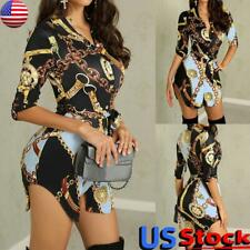 Women Long Sleeve Chain Print Tops Blouse Shirt Dress Ladies Casual Mini Dress