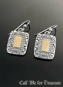 Brighton silver & gold Rectangle French Wire earrings
