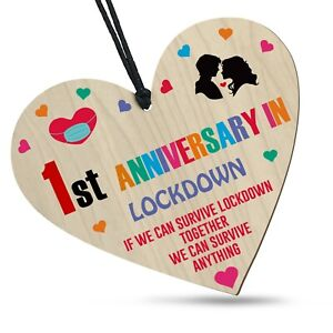 1st Anniversary In Lockdown 2021 Wooden Heart For Him Her Family Plaque Gift