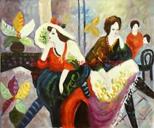 """20x24""""(51x61cm)100% hand painted oil flat/Tarkay/Cafe Lady"""