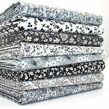 8 X FQ BUNDLE SWEETHEART SMALL FLORAL BLACK GREY WHITE ,100% COTTON FABRIC