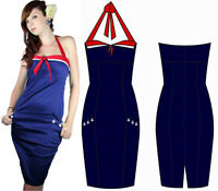 Too Fast Seama Halter Dress Sailor Rockabilly Vintage Glam Pinup Pencil Wiggle