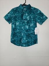 New with Tags Wonder Nation Boys Button Front Shirt Size XS 4-5 Green Floral