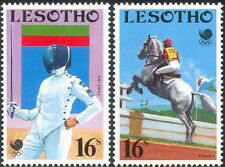 Lesotho 1988 jeux olympiques/DRAPEAU ERREUR/ESCRIME/Horse jumping sport/2 V (b4473)