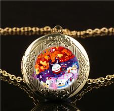Pokemon Mixed Cabochon LOCKET Pendant Gold Chain Necklace USA Shipper #136