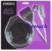 New 3 Piece HAIR COLOURING BRUSH BOWL SET Dye Kit Tint Comb Salon Tool Black UK✔