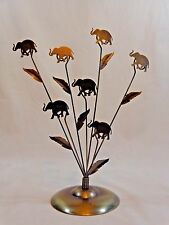 "ELEPHANT Photo Memo Holder 10"" Holds 7 Items Faux Brass Metal Safari Decor"