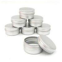 5PC 15ml Durable Silver Aluminum Cosmetic Pot Lip Balm Jar Containers Empty Tins