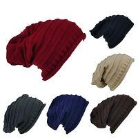 New Men Women Knit Slouchy Beanie Oversized Warm Hat Unisex Solid Color