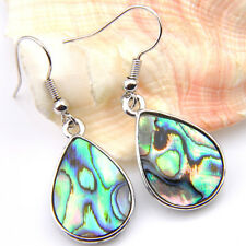 Valentine's Day High Quality Luxury Abalone Shell Gems Silver Hook Earrings