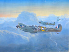 ORIGINAL WW2 WWII AVIATION ART PAINTING SPITFIRES POUNCING ON GERMAN BOMBERS!