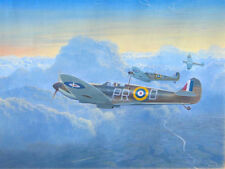 ORIGINAL WW2 WWII MILITARY AVIATION ART PAINTING SPITFIRES VS GERMAN BOMBERS!