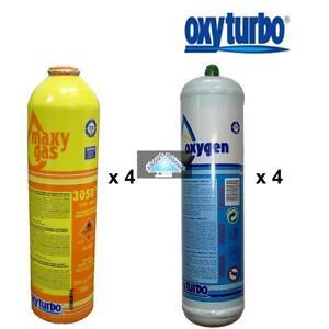 Oxyturbo Gas And Oxygen cylinders x 4 for Oxyturbo Turbo Set 90 lead welding ...