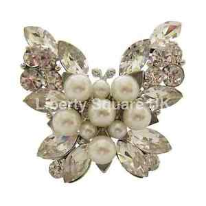 Silver Chunky Pearl and Crystal Set Butterfly Fashion Statement Ring  #328
