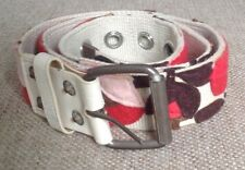 womens floral paterned belt. Red/pink/cream/brown.