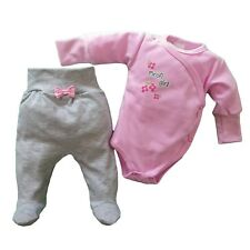 NEWBORN Baby Girls Light Pink/GREY Outfit Bodysuit & Trousers 100% SOFT Cotton